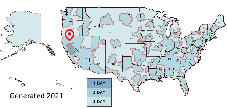 USPS map of estimated Priority Mail delivery dates.